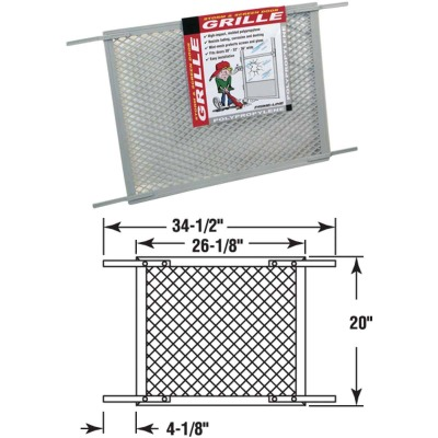 Prime-Line Make-2-Fit 34.5 In. x 20 In. Gray Plastic Door Grille for 36 In. Door