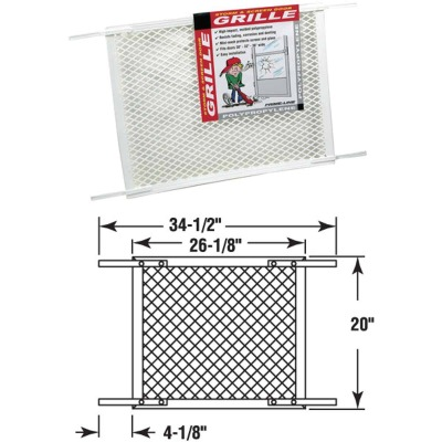 Prime-Line Make-2-Fit 34.5 In. x 20 In. White Plastic Door Grille for 36 In. Door