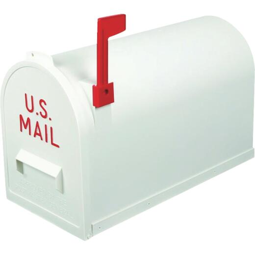 Flambeau No. 2 White Plastic Rural Post Mount Mailbox