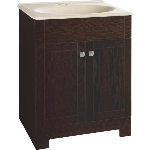 Continental Cabinets Sedona Java Oak 24-3/4 In. W x 32-3/4 In. H x 18-1/2 In. D Vanity with Solid Surface Technology Top