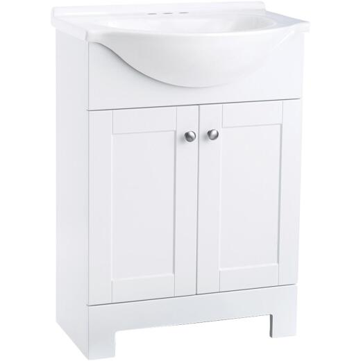 Continental Cabinets European White 24 In. W x 33-1/2 In. H x 12-1/2 In. D Vanity with Cultured Marble Top