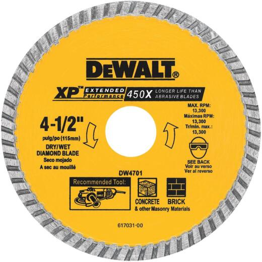 DeWalt Extended Performance 4-1/2 In. Turbo Rim Dry/Wet Cut Diamond Blade