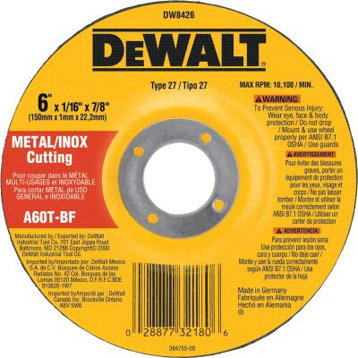 DeWalt HP Type 27, 6 In. Cut-Off Wheel