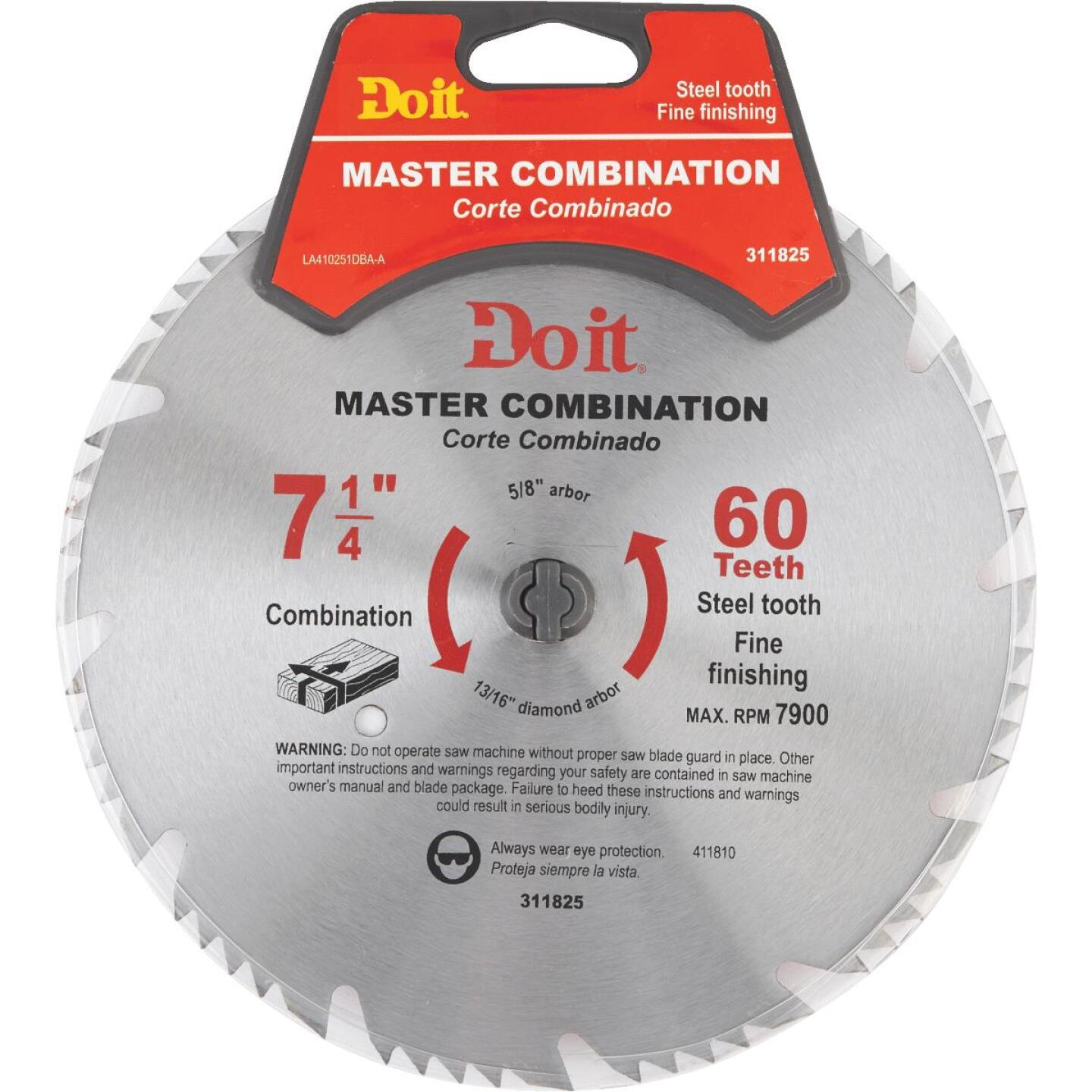 Do it Master Combination 7-1/4 In. 60-Tooth Crosscut/Rip Circular Saw Blade Image 1