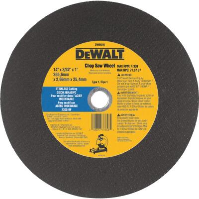 DeWalt HP Type 1 14 In. x 7/64 In. x 1 In. Stainless Steel Cut-Off Wheel