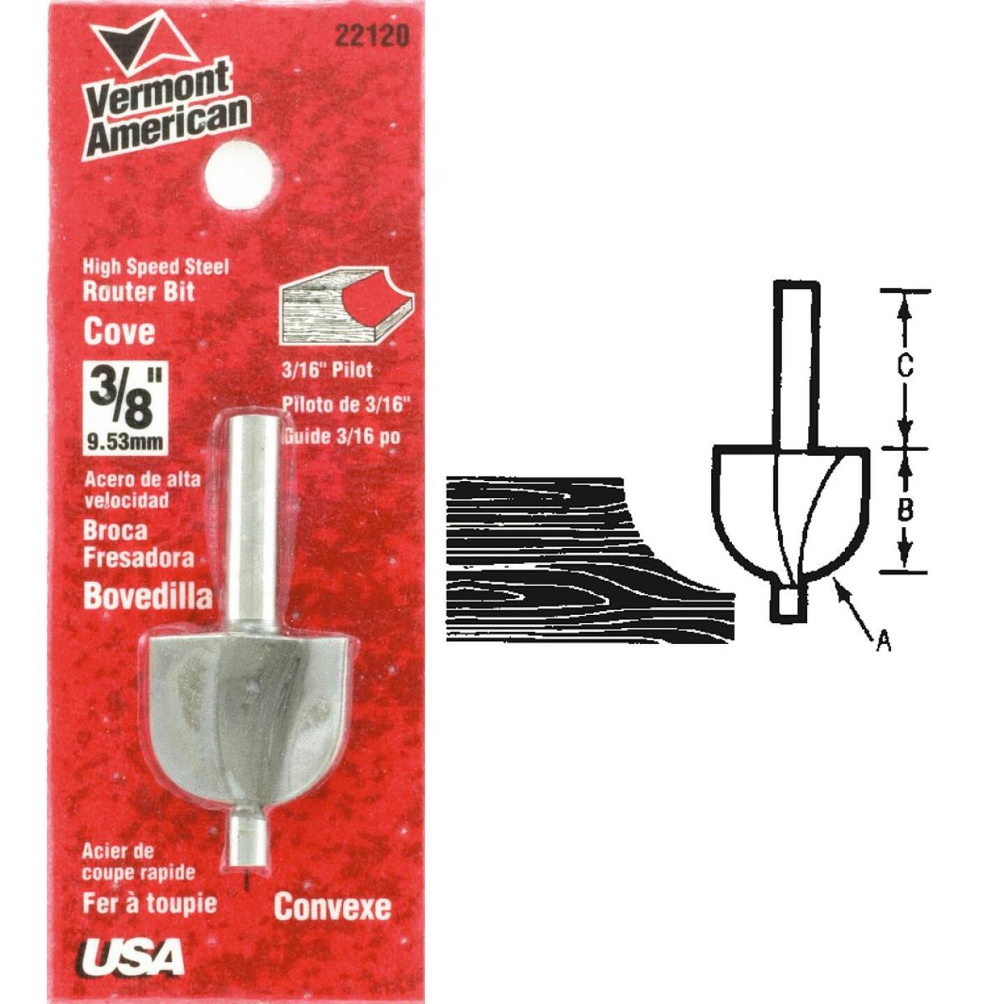 Vermont American Carbide Tip 1-1/4 In. Cove Bit Image 1
