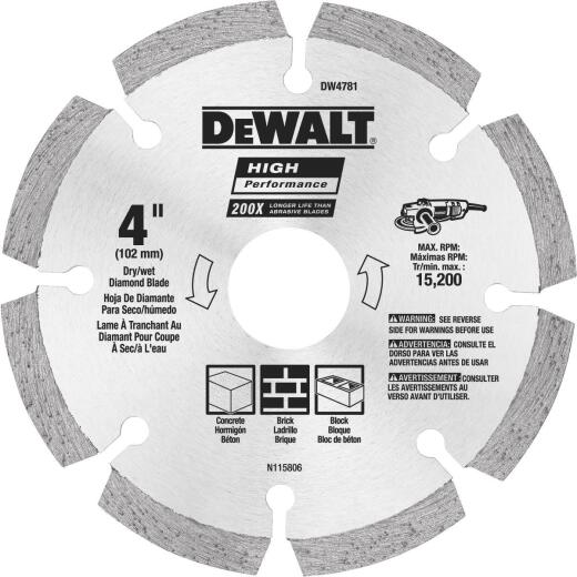 DeWalt High Performance 4 In. Segmented Rim Dry/Wet Cut Diamond Blade