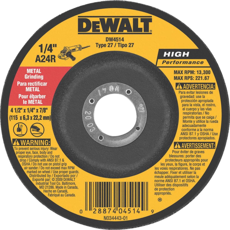 DeWalt HP Type 27 4-1 In. x 1/4 In. x 7/8 In. Metal/Stainless Grinding Cut-Off Wheel Image 1