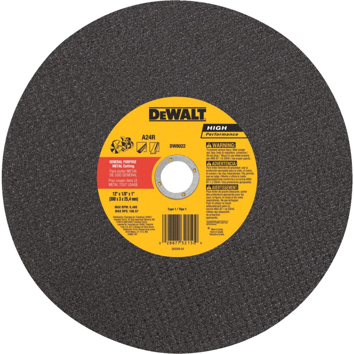 DeWalt HP Type 1 12 In. x 1/8 In. x 1 In. Metal Cut-Off Wheel Image 1