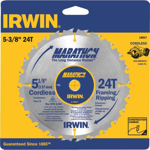 Irwin Marathon 5-3/8 In. 24-Tooth Framing/Ripping Circular Saw Blade