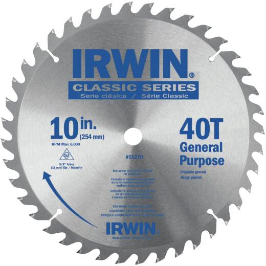 Irwin Classic Series 10 In. 40-Tooth General Purpose Circular Saw Blade