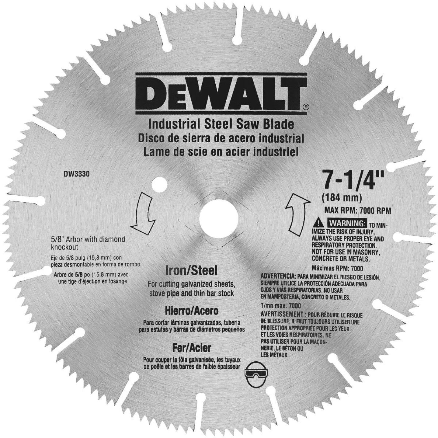 DeWalt Industrial Steel 7-1/4 In. 128-Tooth Iron/Steel Circular Saw Blade Image 1