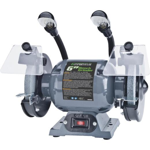 Genesis 6 In. 1/2 HP Bench Grinder with Lights