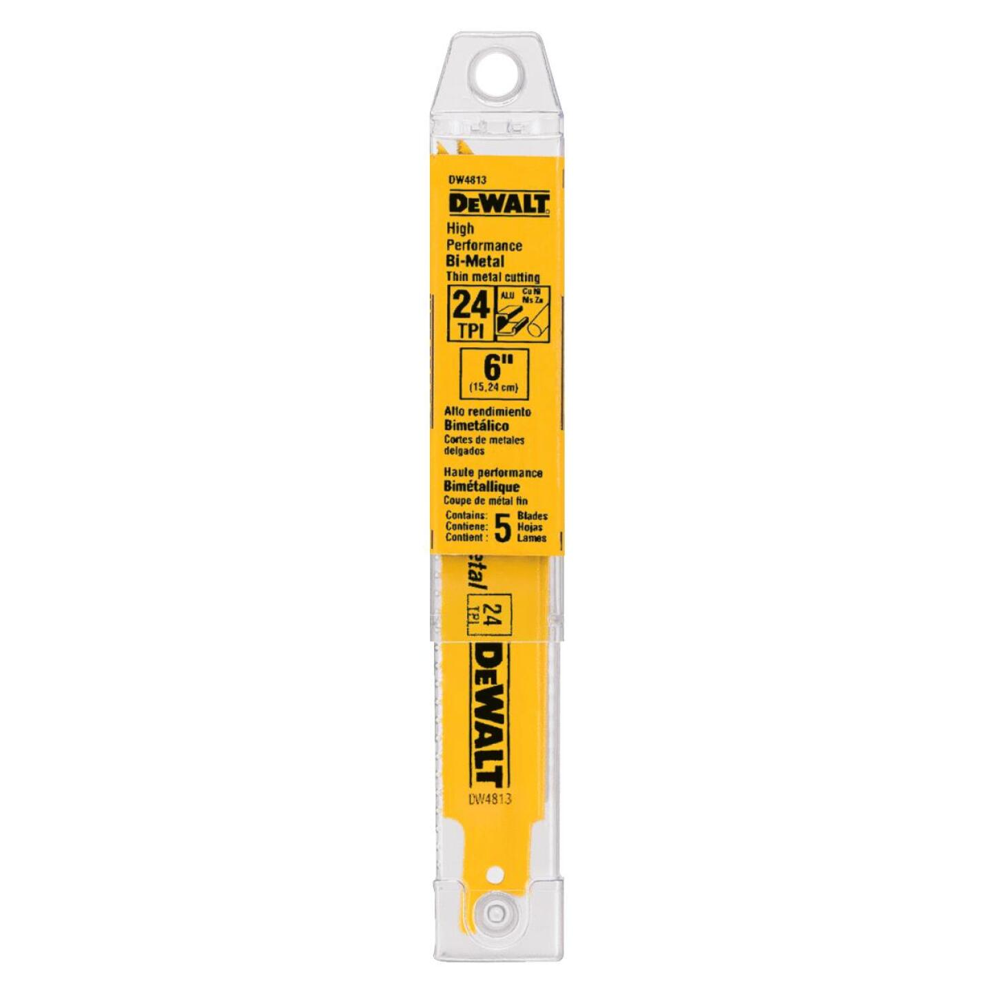 DeWalt 6 In. 24 TPI Thin Metal Reciprocating Saw Blade (5-Pack) Image 2