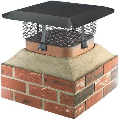 Shelter Adjustable Black Galvanized Steel Single Flue Chimney Cap