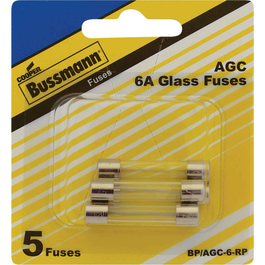 Bussmann 6A AGC Glass Tube Electronic Fuse (5-Pack)