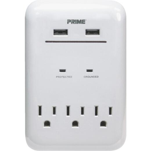 Prime Wire & Cable 3 Power & 2 USB White Wall Charger