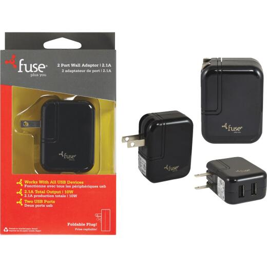 Fuse 2-Port Black Wall USB Charger