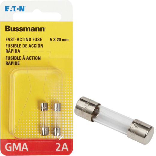 Bussmann 2A GMA Glass Tube Electronic Fuse (2-Pack)