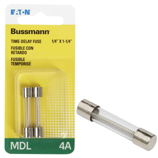 Bussmann 4A MDL Glass Tube Electronic Fuse (2-Pack)