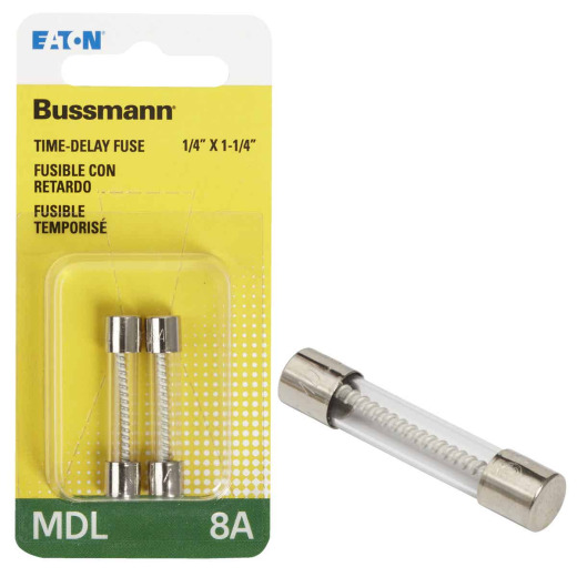 Bussmann 8A MDL Glass Tube Electronic Fuse (2-Pack)