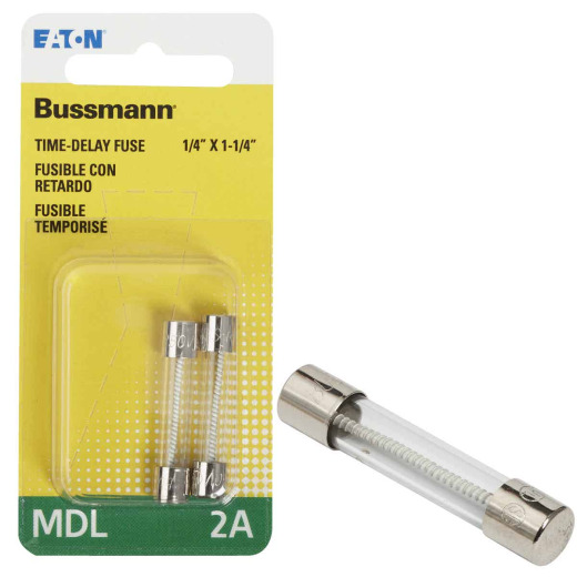 Bussmann 2A MDL Glass Tube Electronic Fuse (2-Pack)