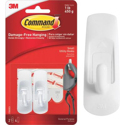 Command 7/8 In. x 2-3/8 In. Utility Adhesive Hook (2 Pack)