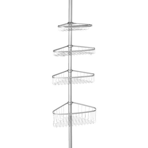 iDesign York Tension 4-Shelf Silver Shower Caddy