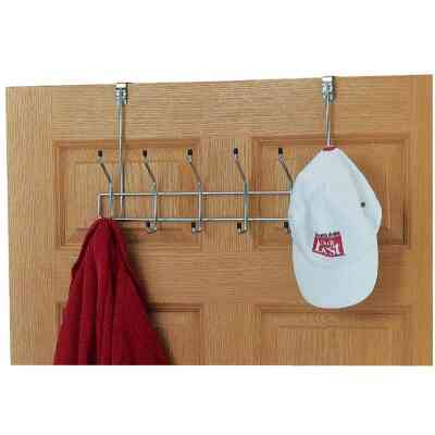 Whitmor Chrome/Ebony 6-Hook 19-3/4 In. Over-the-Door Hook Rail