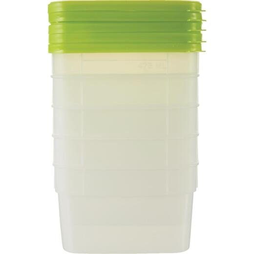 Stor Keeper 1 Pt. Clear Square Freezer Food Storage Container with Lids (5-Pack)
