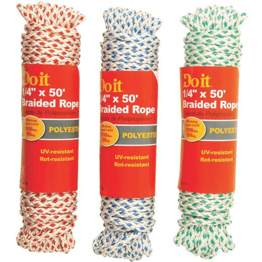 Do it 1/4 In. x 50 Ft. Assorted Colors Diamond Braided Polyester Packaged Rope