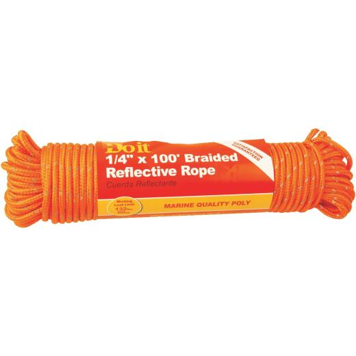 Do it 1/4 In. x 100 Ft. Orange Braided Reflective Polypropylene Packaged Rope