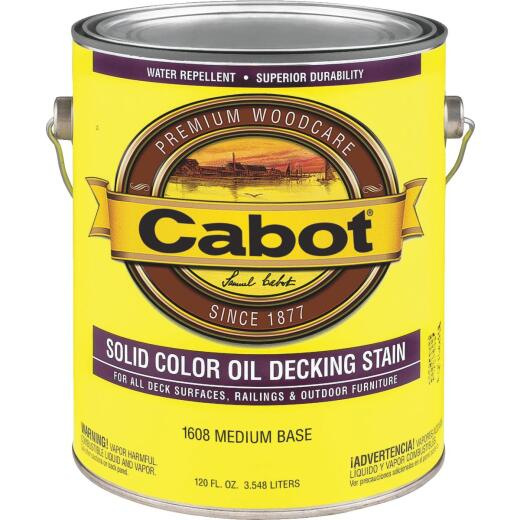 Cabot Solid Color Oil Deck Stain, Medium Base, 1 Gal.