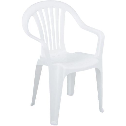Adams White Resin Low Back Stackable Chair