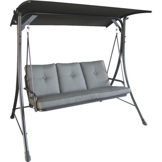 Outdoor Expressions 3-Person 71.71 In. W x 67.57 In. H x 49.64 In. D Gray Patio Swing