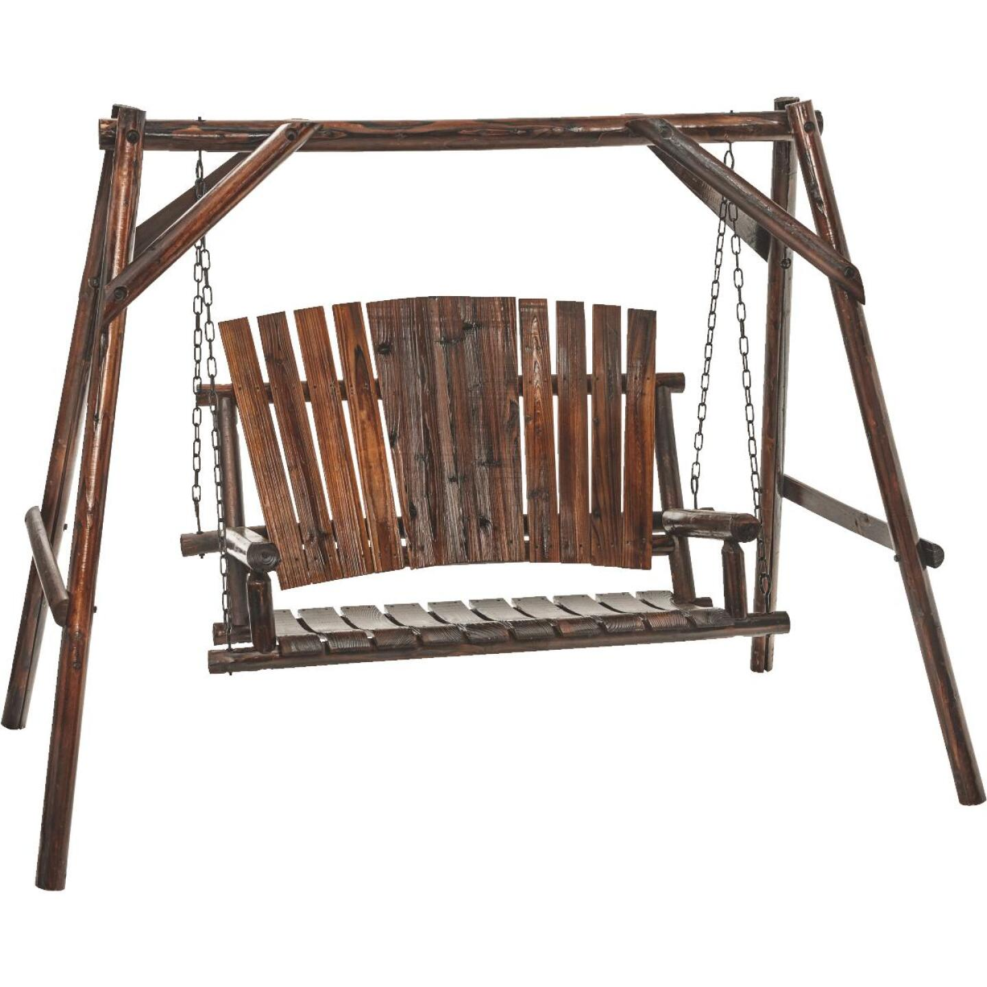 Char-Log 2-Person 90 In. W. x 67.5 In. H. x 50 In. D. Charred Wood Patio Swing Image 1