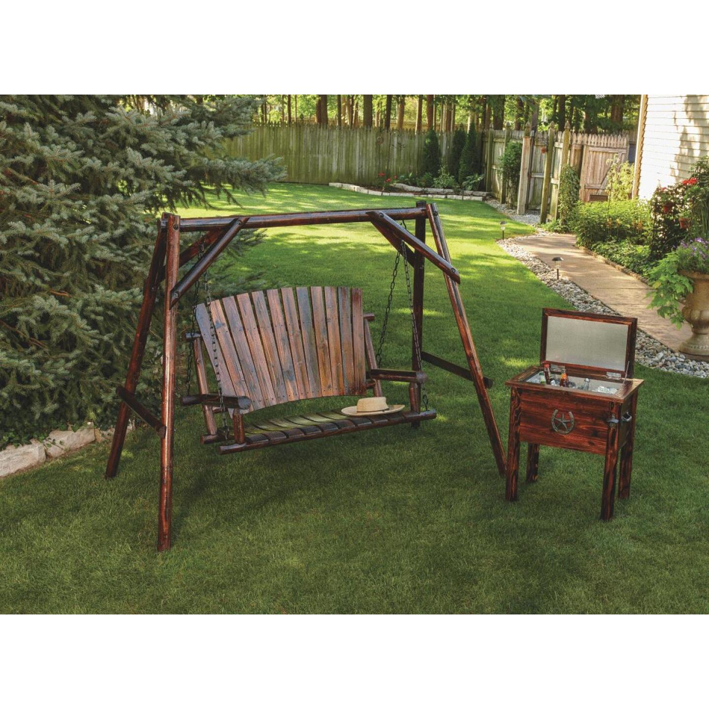 Char-Log 2-Person 90 In. W. x 67.5 In. H. x 50 In. D. Charred Wood Patio Swing Image 2
