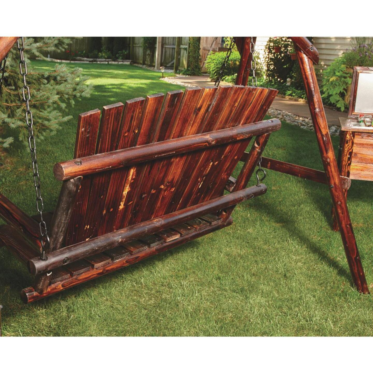 Char-Log 2-Person 90 In. W. x 67.5 In. H. x 50 In. D. Charred Wood Patio Swing Image 4