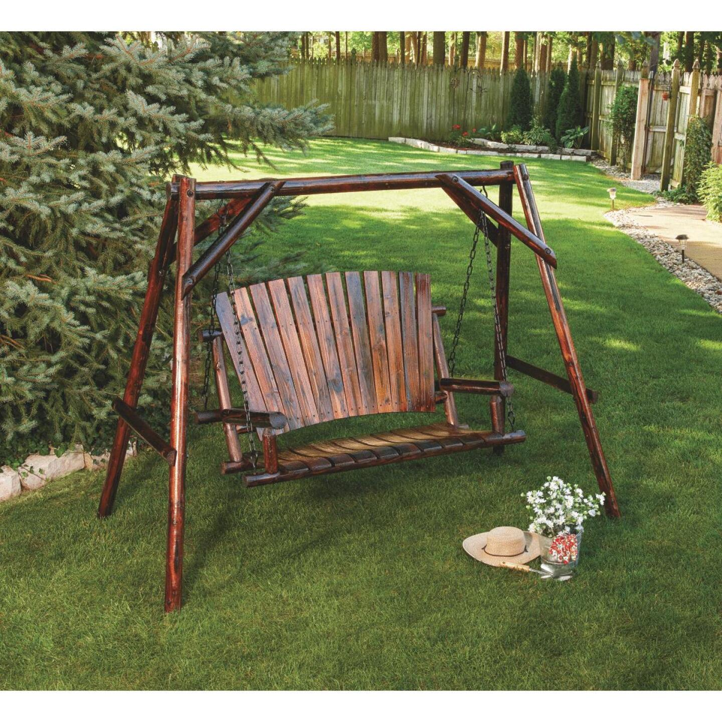 Char-Log 2-Person 90 In. W. x 67.5 In. H. x 50 In. D. Charred Wood Patio Swing Image 5