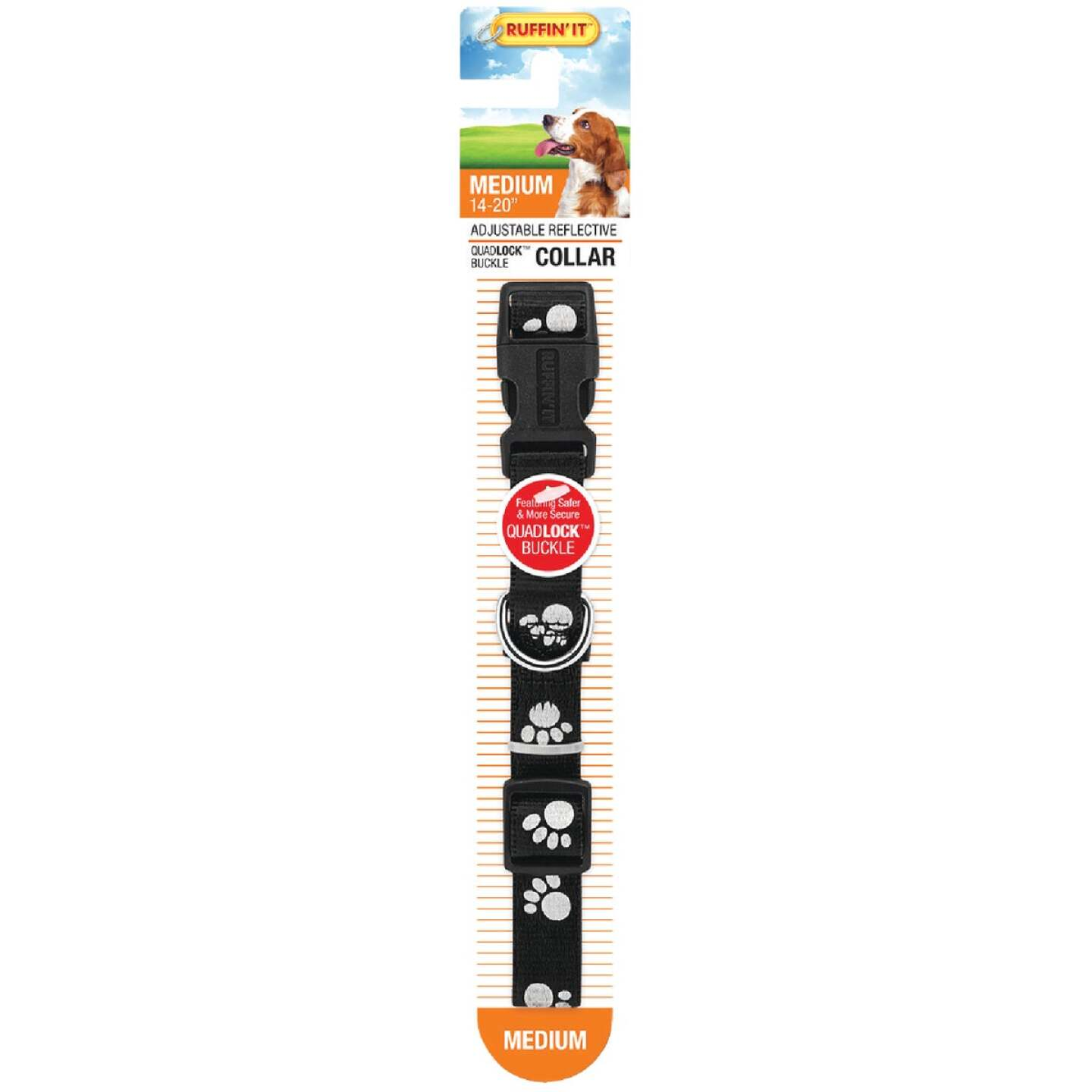 Westminster Pet Ruffin' it Reflective Paw Print 14 In. to 20 In. Nylon Dog Collar Image 2